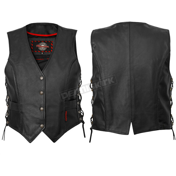 Milwaukee Motorcycle Clothing Co. Womens Black Deuce Vest - M10069XXL