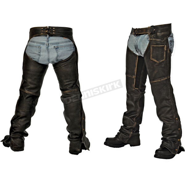 Milwaukee Motorcycle Clothing Co. Black Distressed Crazy Horse Unisex Chaps - MV8018S