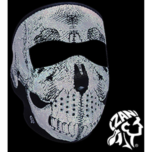 Zan Headgear Black Neoprene Reflective Skull Full Mask - WNFM002R