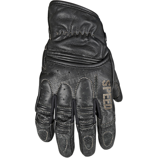 Speed and Strength Distressed Black Rust and Redemption Leather Gloves - 87-8619