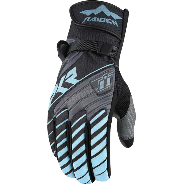 Icon - Raiden Womens Charcoal/Blue DKR Gloves - 3302-0449