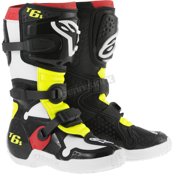 Alpinestars Youth Black/Red/Yellow Fluorescent Tech 6S Boots - 201506-136-3