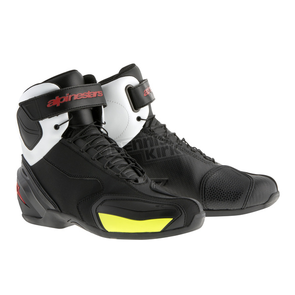 Alpinestars Black/White/Red/Yellow Fluorescent SP-1 Shoes - 2511015-1235-38