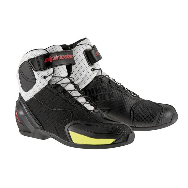 Alpinestars Black/White/Red/Yellow Fluorescent SP-1 Vented Shoes - 2511315-1235-38