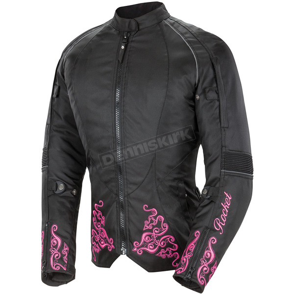 Joe Rocket Womens Black/Pink Heartbreaker 3.0 Textile Jacket - 1512-5905