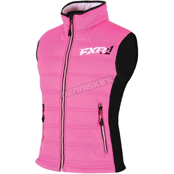 FXR Racing Womens Fuchsia/Black Block Heater Vest - 15209.90114