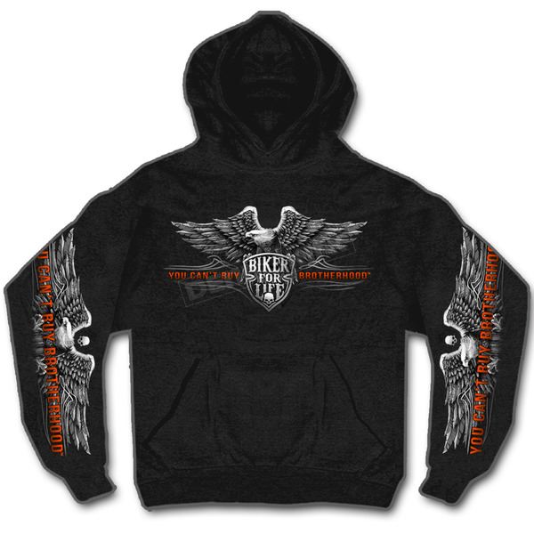 Hot Leathers Black Brotherhood Eagle Hoody - GMS4295M