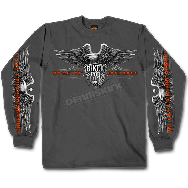 Hot Leathers Charcoal Brotherhood Eagle Long Sleeve T-Shirt - GMS2295XXXL