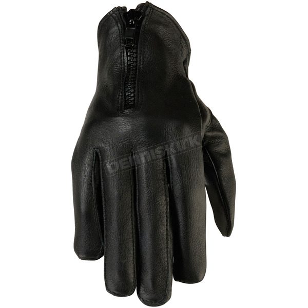 Z1R Womens Black 7mm Leather Gloves - 3302-0486