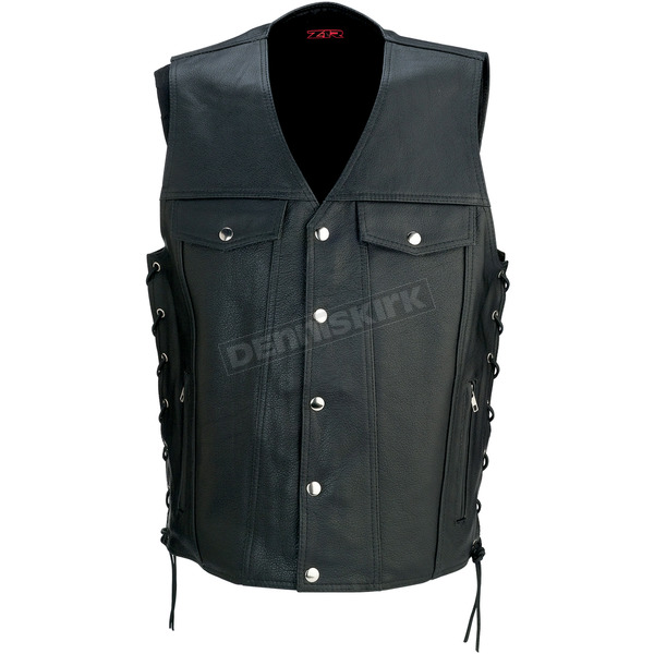 Z1R Black 30-30 Leather Vest - 2830-0350