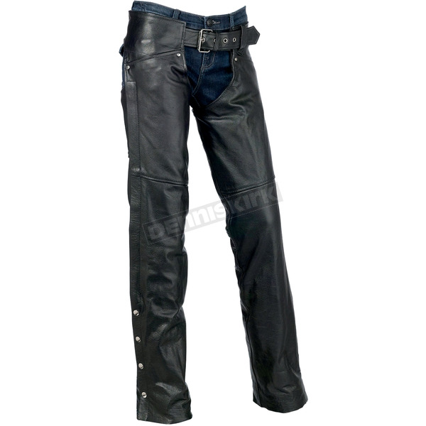 Z1R Womens Black Carbine Leather Chaps - 2815-0089