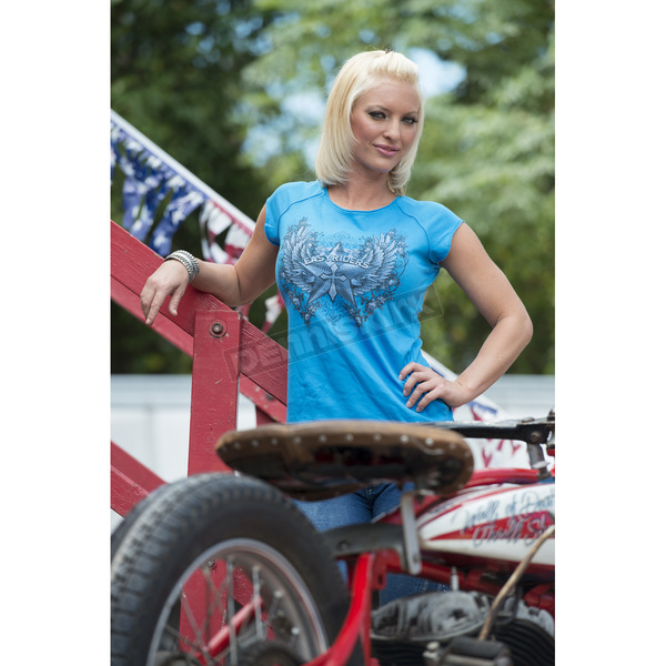 Easyriders Roadware Womens Turquoise Garden Party T-Shirt - 1099L