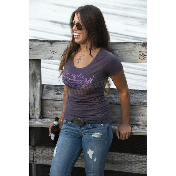 Easyriders Roadware Womens Purple Glitter Guns T-Shirt - 2183L