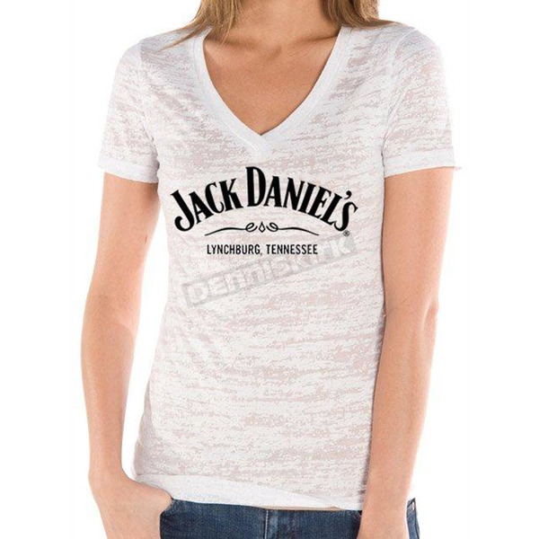 Jack Daniels Womens white Arch Burnout T-Shirt - 15361464JD-01-S