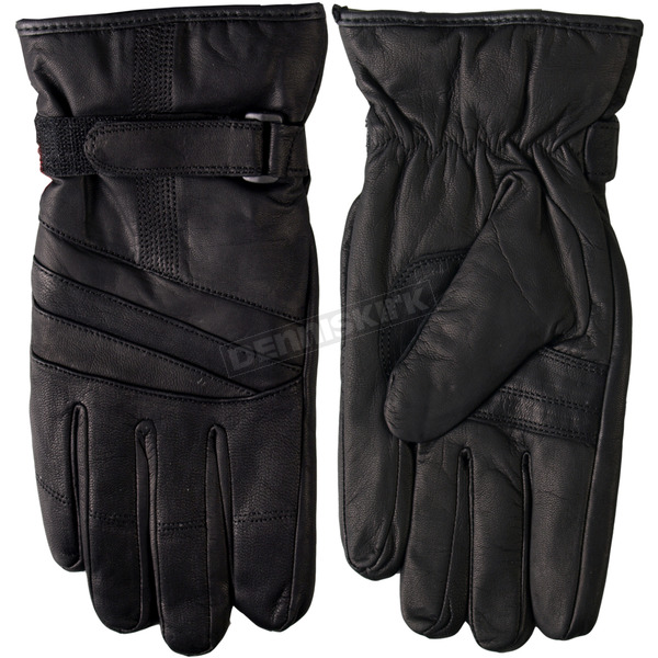 Hot Leathers Waterproof Leather Gloves w/Lining - GVM1019XS