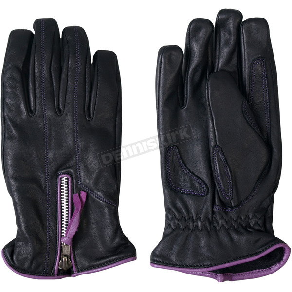 Hot Leathers Womens Leather Driving Gloves w/Purple Piping - GVL1008L