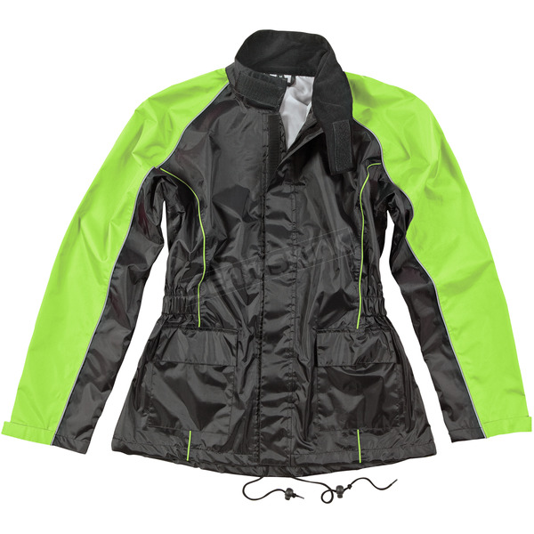 Joe Rocket Womens Black/Hi-Viz Neon RS-2 2-Piece Rainsuit - 1012-2405