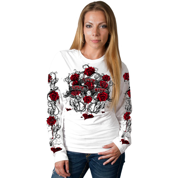 Hot Leathers Womens White Live Love Ride Roses Long Sleeve Shirt - GLC3246L