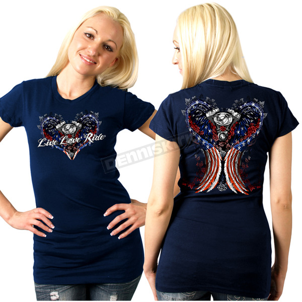 Hot Leathers Womens Navy Blue Angel Wings T-Shirt - GLD1297XL