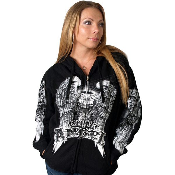 Womens Black Asphalt Angel Zip Hoody - GLZ4009L