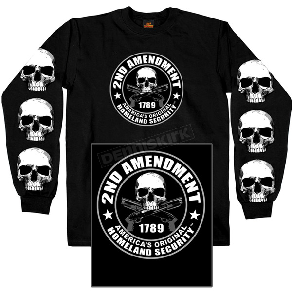 Hot Leathers Black 2nd Amendment Long Sleeve T-Shirt - GMD2158M