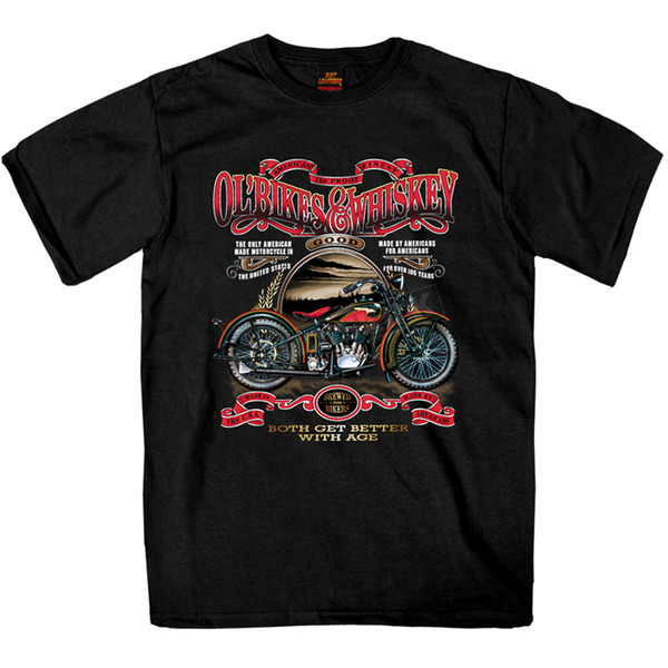 Hot Leathers Black Ol' Bikes and Whiskey T-Shirt - GMS1074XL