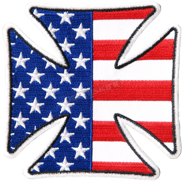Hot Leathers Iron Cross American Flag Patch - PPA7460