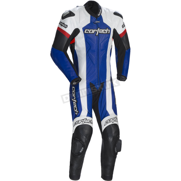 Cortech Blue/White/Red Adrenaline RR Leather One-Piece Suit - 8970-0102-07