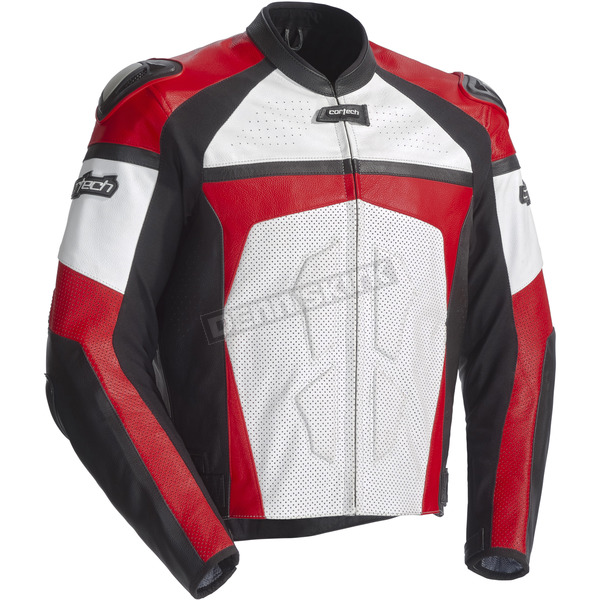 Cortech Red/White/Black Adrenaline Leather Jacket - 8971-0101-04