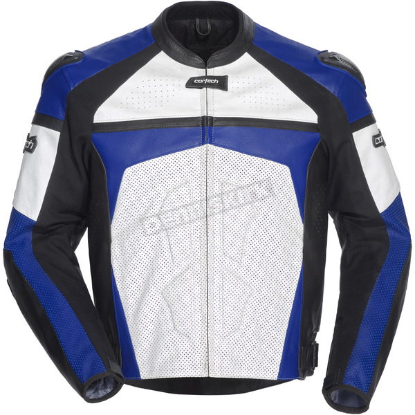 Cortech Blue/White/Black Adrenaline Leather Jacket - 8971-0102-04