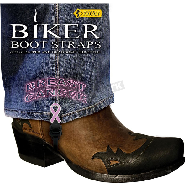 Biker Boot Straps 4 in. Womens Breast Cancer Boot Straps - BBS-BC4