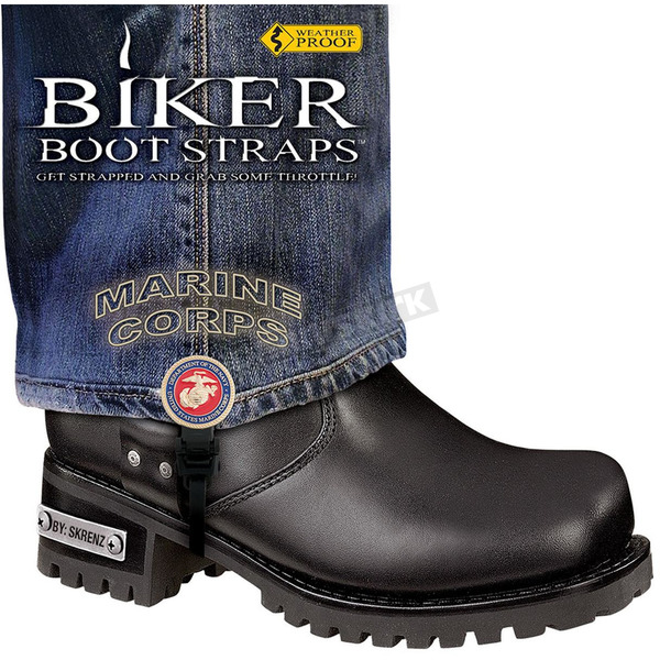 Biker Boot Straps 4 in. Womens Marine Corps Boot Straps - BBS-MR4