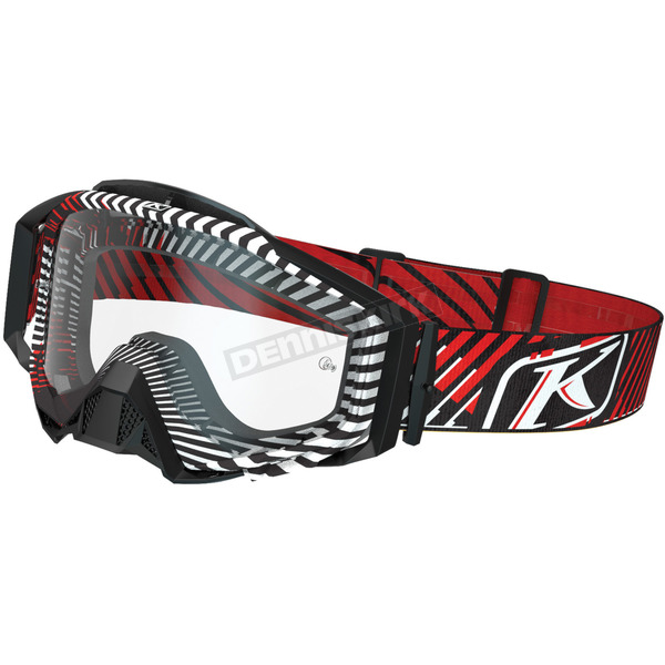 Klim Black/White/Red Fire Thorn Radius Pro Moto Goggles w/Single Clear Lens - 3059-000-100-000