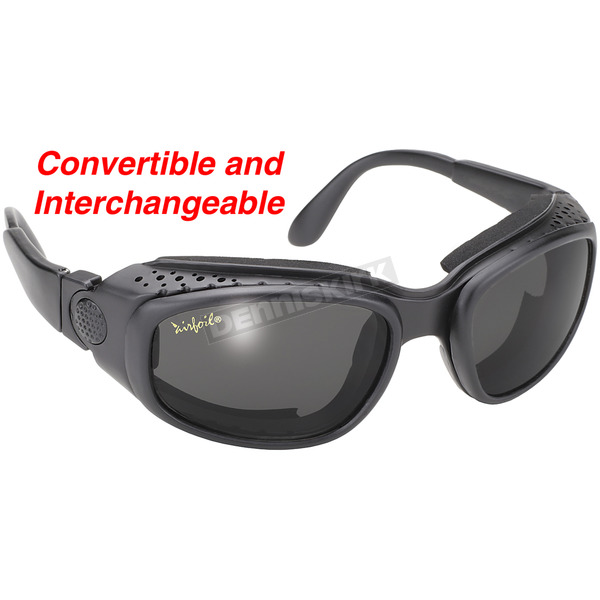 KDs Black Airfoil Sunglasses w/Smoke Lens - 9100