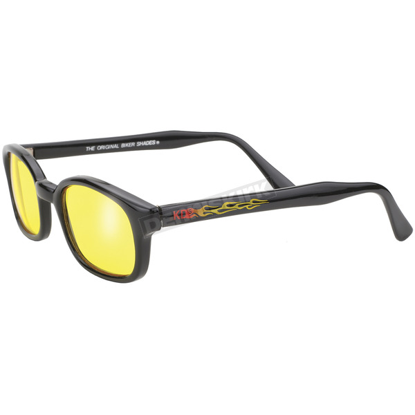 Pacific Coast Sunglasses The Original KDs Sunglasses Black Flames w/Yellow Lens - 30112