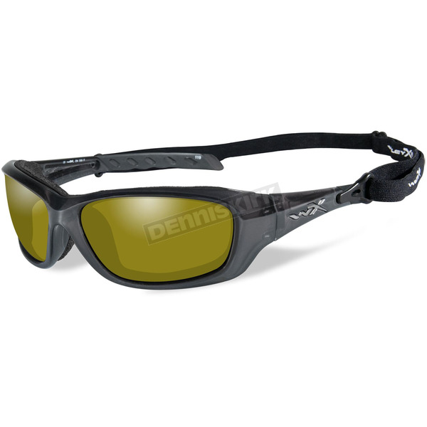 Wiley X Black Crystal Gravity Climate Control Sunglasses w/Polarized Yellow Lens - CCGRA11