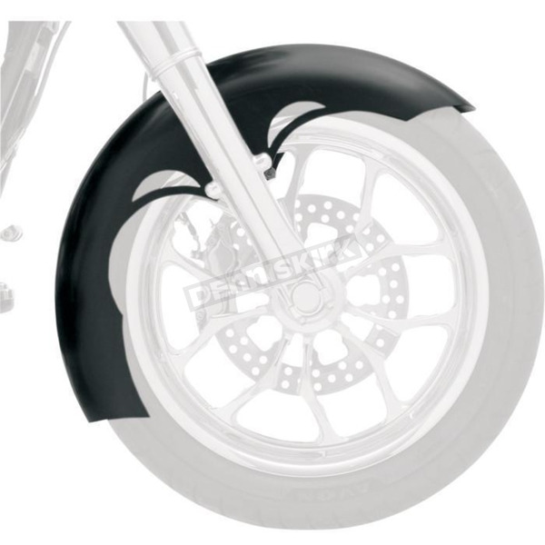 Klock Werks 21 in. Chrome Tude Tire Hugger Series Front Fender with Chrome Blocks - 1402-0314