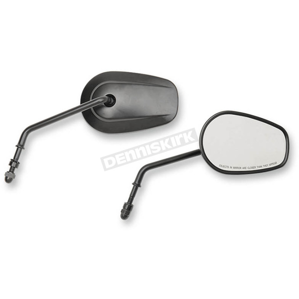Drag Specialties Black OEM-Style Tear Drop Long Stem Mirror - 0640-0917