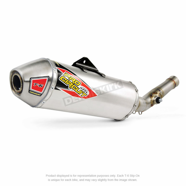 Pro Circuit Stainless T-6 Slip-On w/Removable Spark Arrestor - 0141445A