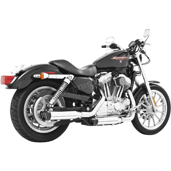 Chrome Racing Slip-On Mufflers with Black Tips - HD00321