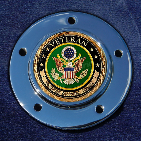 Motordog69 Max 1.8  Timing Cover Coin Mount With Veteran US Army 2-Sided Coin - JMPC-M-5-VARMY