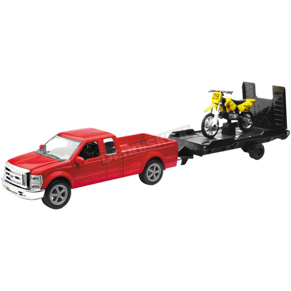 New Ray Toys Ford F250 w/Trailer and Suzuki Bike 1:43 Scale Die Cast Model - 19775a