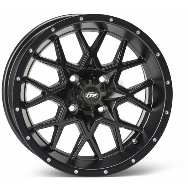ITP Matte Black Rear 12 X 7 Hurricane Wheel - 1228628536B