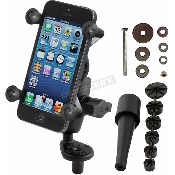 Ram Mounts Ram Fork Stem Mount W/ Short Double Socket Arm And Universal X-Grip Cell Phone Holder - RAM-B-176-A-UN7