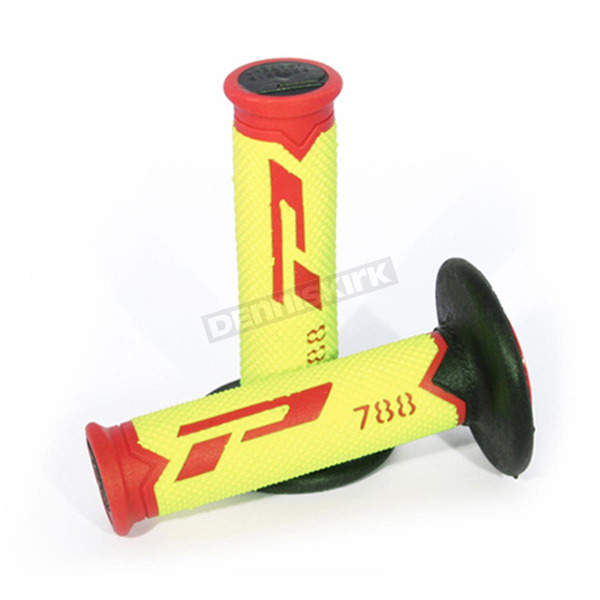 Pro Grip Fluorescent Yellow/Red 788 Extra  Slim Triple Density Grips - 788RDFLYLBK