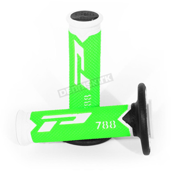 Pro Grip White/Fluorescent Green 788 Extra Slim Triple Density Grips - 788WHFLGNBK