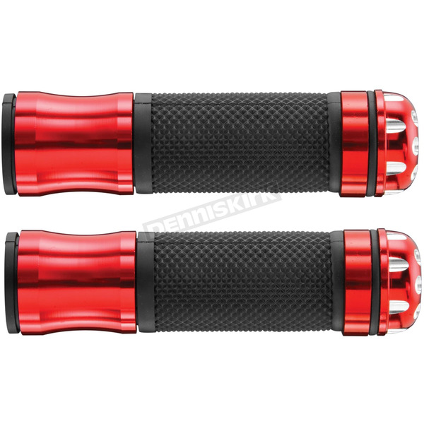 BikeMaster Red Grips with Revolver Bar End - HF104067RD