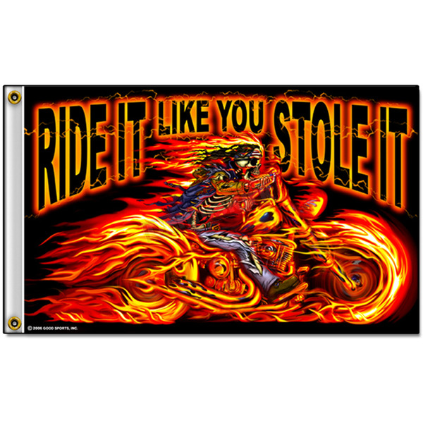 Hot Leathers Street Rider Skull Flag - FGA1026