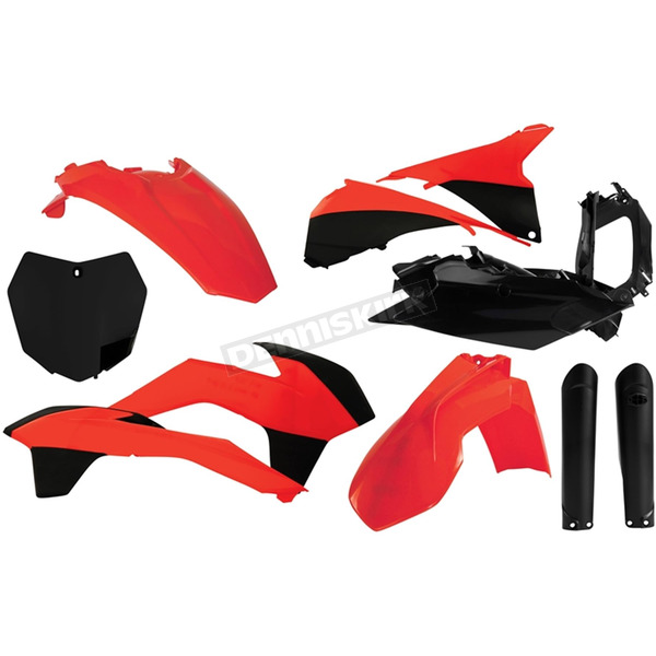Acerbis Full Orange/Black Replacement Plastics Kit - 2403104892