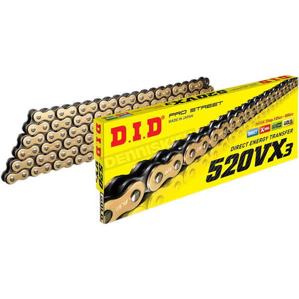 Gold 520VX3 Professional X-Ring Series Chain - 520VX3G110FB